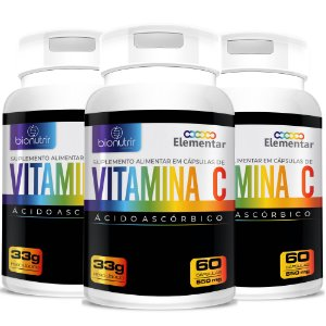 Kit Vitamina C (500mg) 3x60 Cápsulas - BioNutrir