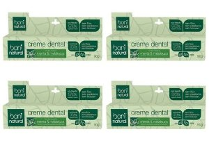 4x Creme Dental Natural Boni Sem Flúor Menta Melaleuca 90g