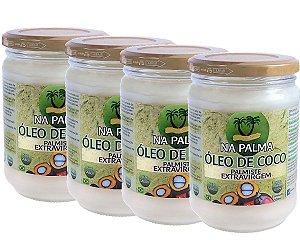 Óleo De Coco Extra virgem (100% Orgânico por Moagem a Frio) 4 Potes 500ml cada - Totalmente sem Sabor e Cheiro.