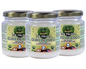 Kit Óleo De Coco Extra virgem (100% Orgânico por Moagem a Frio) 3 Potes 200ml cada -Sem Sabor e Cheiro.