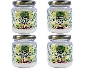 Óleo De Coco Extra virgem (100% Orgânico por Moagem a Frio) 4 Potes 200ml cada - Totalmente sem Sabor e Cheiro.