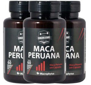 3 Maca Peruana 500mg Pura Total 180cps - Macrophytus
