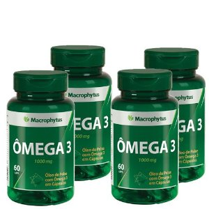 Kit 4 Ômega 3 1000mg 240 Cáps Macrophytus - Original