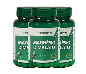 Kit Magnésio Dimalato Macrophytus 180 Cápsulas 3 Unidades