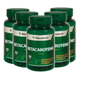 Kit Betacaroteno Softgel 250mg 60cps Macrophytus 5 Unidades