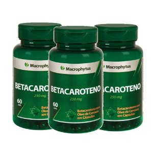Kit Betacaroteno Softgel 250mg 60cps Macrophytus 3 Unidades
