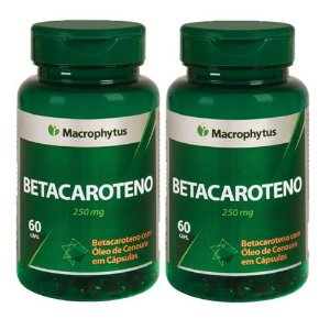Kit Betacaroteno Softgel 250mg 60cps Macrophytus 2 Unidades