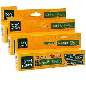 Kit 3 Creme Dental Boni Natural Hortelã E Cúrcuma Sem Flúor 90g