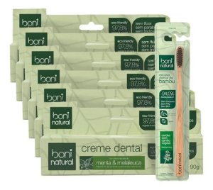 Escova Dental De Bambú + 6 Creme Dental Boni Natural