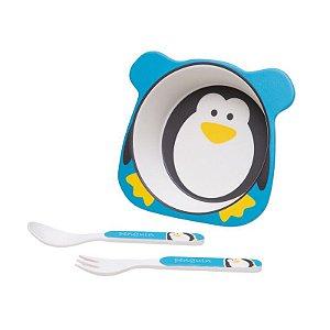 - Kit Alimentação Colher, Garfo, Prato Tigela tema Pinguim, Girotondo