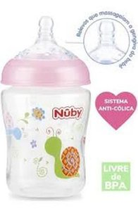 Mamadeira Anticólica Bebê Imita Seios Mãe Flex 270ml,  Nuby