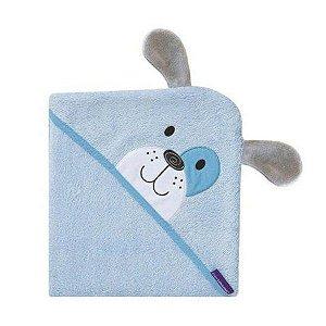 Toalha Mamãe Bebê Cachorro Azul Fibra de Bambu