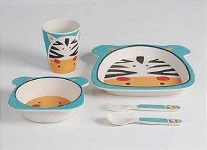 Kit Alimentação 5 Peças, 2 pratos, copo, colher e faca linha Eco Zebra, Girotondo