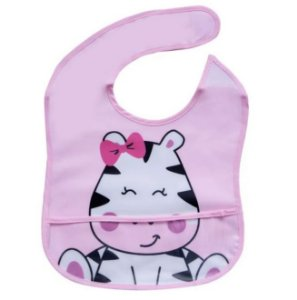 Babador cor de rosa Tema Zebra Impermeável, Girotondo