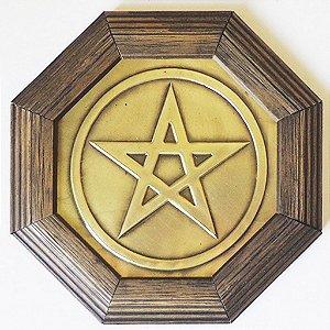 Quadro Pentagrama Moldura Madeira