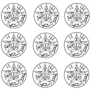 Adesivo Radiônica Tetragrammaton PQ 9 peças
