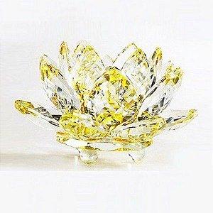 Flor de Lótus de Cristal M Efeito Amarelo