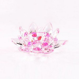 Flor de Lótus de Cristal P Efeito Rosa
