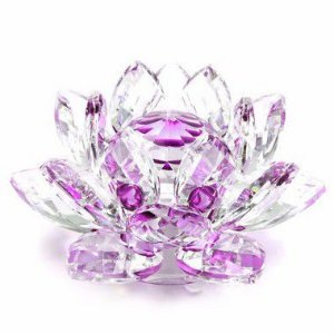Flor de Lótus de Cristal M Efeito Violeta