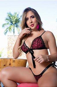 CONJUNTO SEXY BELLA DE AMARRAR PRETO C/ ROSA M