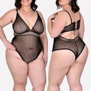 BODY SENSUAL PUDERA COM TRANSPARÊNCIA  - TAM. PLUS (VESTE DO 48 A0 50)