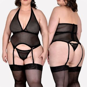 ESPARTILHO SEXY DOÇURA - TAM PLUS SIZE (VESTE DO 48 AO 50) PRETO