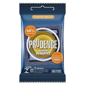 PRESERVATIVOS SUPER SENSITIVE 48% MAIS FINO COM 3 UNIDADES PRUDENCE