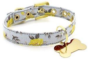 Coleira de Cachorro Tecido Cinza e Amarelo Florido