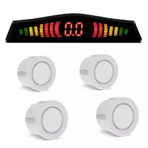 Sensor de Estacionamento 4 Pontos Branco Com Display de Led