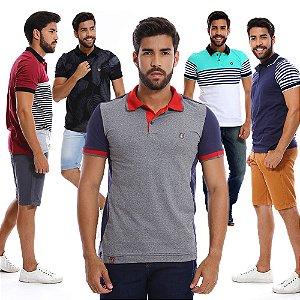 Kit com 5 Camisas Polo Masculinas Estampadas