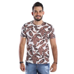 Camiseta Estampada Masculina - Folhas Outono