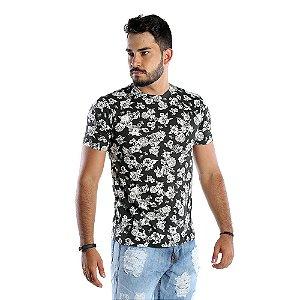 Camiseta Masculina Preta Com Estampa Floral
