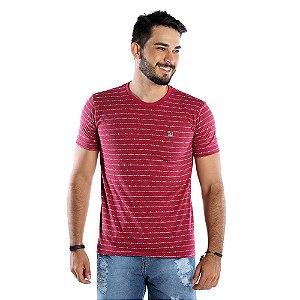 Camiseta Masculina Vermelha Estampada com Listras