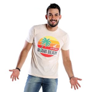 Camiseta Masculina Estampada Miami Beach Bamborra