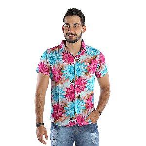 Camisa Casual Masculina Estampada Florida