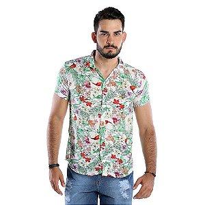 Camisa Florida Masculina de Mangas Curtas