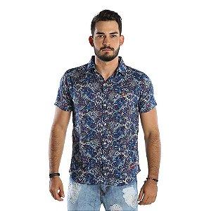 Camisa Casual Masculina Com Estampa Indiana