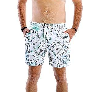 Short Tactel Masculino Estampado Dólares