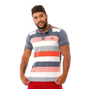 Camisa Polo Masculina Listrada Branca Coral e Cinza