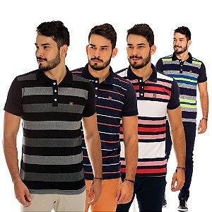 Kit com 4 Camisas Polo Masculinas Listradas Premium