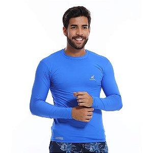 Camisa UV Masculina Com Proteção Solar Fator 50 Azul Royal