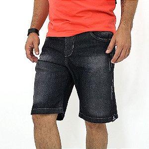 Bermuda Jeans Tradicional Masculina Preta Manchada