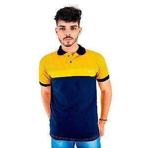 Camisa Polo Masculina Blitz Repartida Azul Com Amarelo