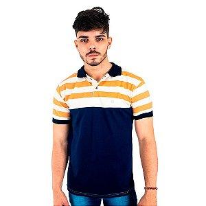 Camisa Polo Masculina Blitz Azul Com Listras Bege e Caramelo