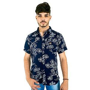 Camisa Masculina Bamborra Casual Florida Azul Marinho