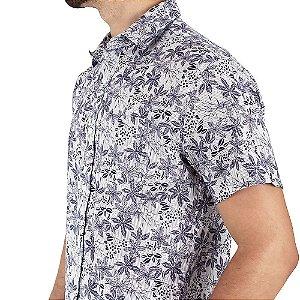 Camisa Social Masculina Branca Estampada Florida