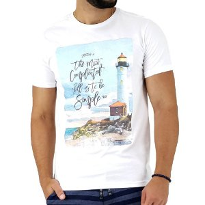 Camiseta Masculina Mitchs Branca Estampa To Be Simple