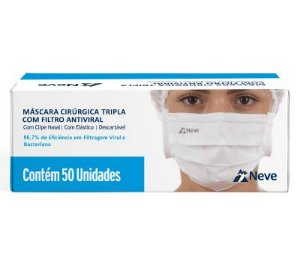Mascara Cirúrgica Tripla Descartável Branca com 50 unidades