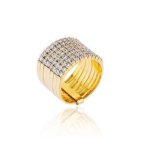 Anel semijoia de sete aros cravejados de zircônias, banhado em ouro 18k