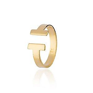 Anel semijoia de falange com T nas pontas, banhado em ouro 18k
